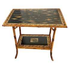 English Victorian Bamboo Decoupage Table With Trout