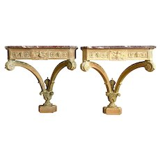 Pair George II Style Carved Pine Console Tables With Marble Tops