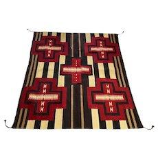 Vintage Navajo Native American Woven Wool Rug