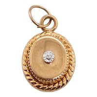 Miniature 14K Gold Diamond Locket Form Charm