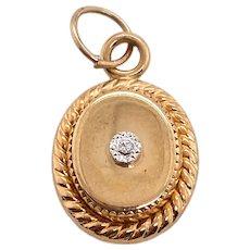 Miniature 14K Gold Diamond Locket Form Charm
