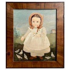 Contemporary Folk Art Portrait of Little Girl