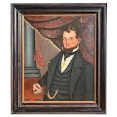 American Folk Portrait of a Vermont Gentleman circa 1830
