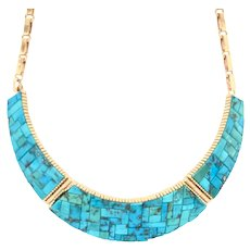 Don Juan (Johnson) of New Mexico 14K Gold Turquoise Inlayed Necklace