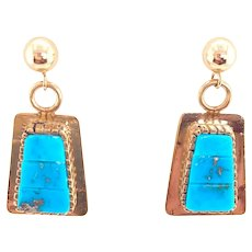 14K Turquoise Pierced Post Inlay Turquoise Earrings