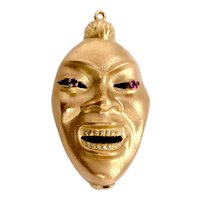 18K Gold Three Dimensional Double Sided Face Pendant / Charm