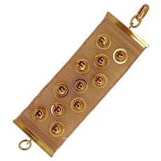 Vintage Gucci Italy 18K Gold Wide Mesh Bracelet
