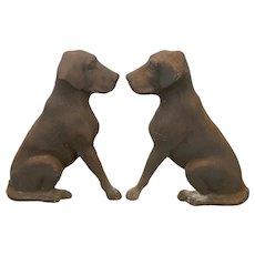 Pair Cast Iron Labrador Retriever Dog Andirons Liberty Foundry