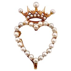 Victorian 14K Crown Heart Cultured Seed Pearl Watch Pin Brooch