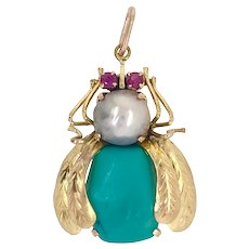 Vintage 14K Gold Cultured Pearl Turquoise Insect Pendant Charm