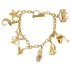 14K Gold Beach Theme Charm Bracelet 8 Charms