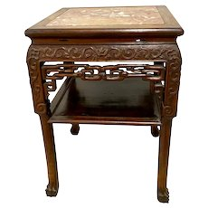 19th C. Chinese Marble & Hongmu Wood Square Table