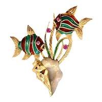 18K Gold Enamel & Ruby Fish & Conch Shell Brooch
