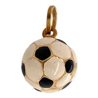 14K Gold and Enamel Soccer Ball Charm