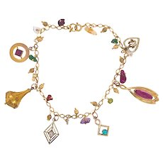 14K Gold Jeweled Charm Bracelet With Antique Charms