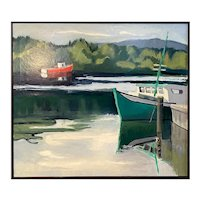 Coastal Maine Shore With Boats Oil on Canvas Painting