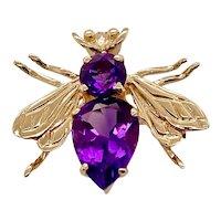 10K Gold Amethyst Bee Pin / Pendant