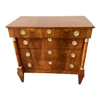 19th C. French Neoclassical Walnut Small Chest of Drawers