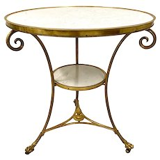 19th C. French Bronze and Marble Gueridon / Table