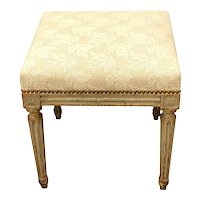 French 19th C. Painted Louis XVI Style Upholstered Stool