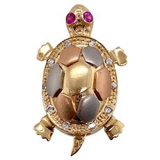 Tri Color 14K Gold Articulated Turtle Charm Ruby Eyes & Diamonds