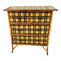 19th C. English Bamboo Trimmed Chest With Tartan Paint