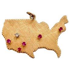Large 14k Gold Vintage U.S. Ruby & Diamond Charm
