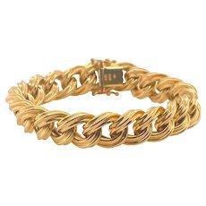 Vintage 14K Gold Italian Articulated Link Charm Bracelet