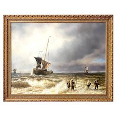 Large Seascape With Fisherman Oil on Canvas, Signed