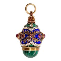 Victorian Gilt Silver Faberger Style Egg Pendant With Malachite