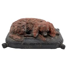 19th C. Patinated Iron Cavalier King Charles Spaniel Paperweight
