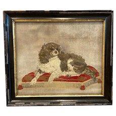 19th C. English Needlepoint King Cavalier Spaniel Portrait