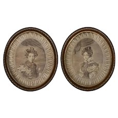 Pair French Printed Portrait Textile Pictures Oval Frames
