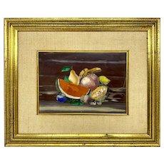 Pietra Dura Plaque With Fruit Signed Giuseppe Fiaschi