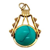 Victorian 14K Gold Turquoise Ball Charm Pendant