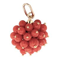 18K Gold and Coral Cluster Charm or Pendant
