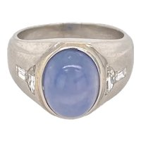 Art Deco Platinum Diamond & Star Sapphire Unisex Ring