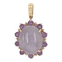 14K Gold Lavender Jade & Amethyst Pendant with Enhancer Bale