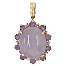 14K Gold Lavender Jade & Amethyst Pendant with Enhancer Bale