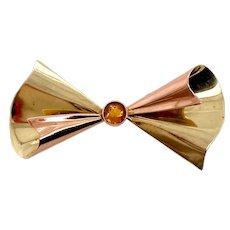 Tiffany & Co Retro 14K Rose & Yellow Gold Citrine Bow Pin