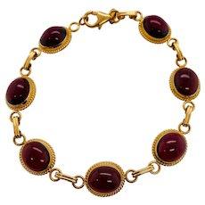 Carla 14K Gold Cabochon Garnet Link Bracelet
