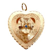 Vintage Large 3 Dimensional Heart Charm With Pansy