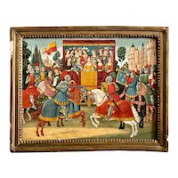 Medieval Jousting Match Oil On Panel Painting 19th Century