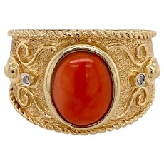 Etruscan Style 14K Gold and Coral Ring
