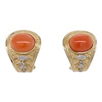 Vintage 14K Gold Coral and Diamond Omega Back Earrings
