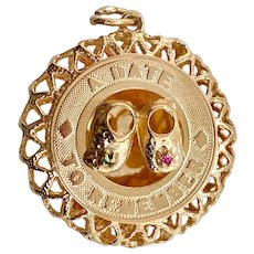 "14K Gold Baby Shoe ""A Date to Remember"" Charm"