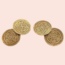Edwardian 14K Gold Two Sided Cufflinks Wordley Allsopp Bliss WAB