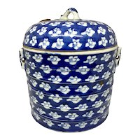 Chinese 19th C. Blue & White Porcelain Covered Jar