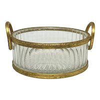Vintage French Crystal and Gilt Bronze Handled Bowl