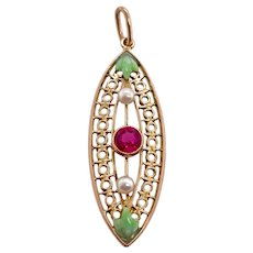 Edwardian Gold Filigree Enamel Pearl Ruby Pendant
